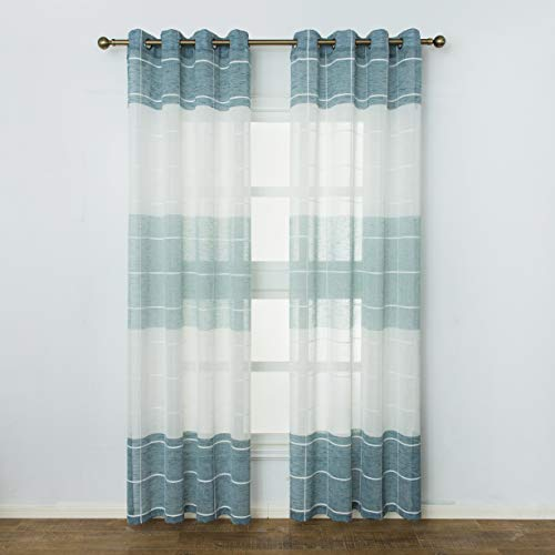 Aquazolax Grommet Top Sheer Volie Curtains Linen Look Window Treatment Two Tone Checkered Patio Sliding Glass Door Curtains Drapes, 2 Panels, W52 inch x L84 inch, Sage Green and White