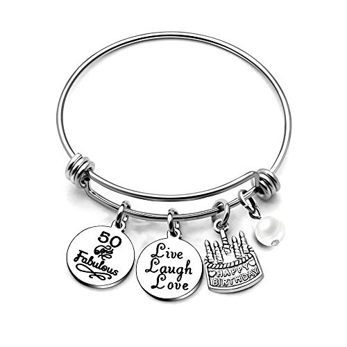 AGR8T Bangle Bracelets Gifts for Her Happy Birthday Bangles Cake Live Laugh Love Charms Women Girl (50th Birthday) ()