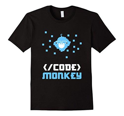 [Men's Funny Code Monkey T-shirt School Geek Nerd Meme Gift XL Black] (Super Nerd Costume)