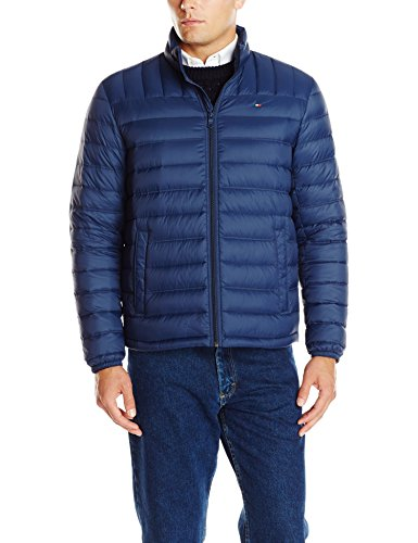 Tommy Hilfiger Men's Packable Down Jacket, Navy, Medium