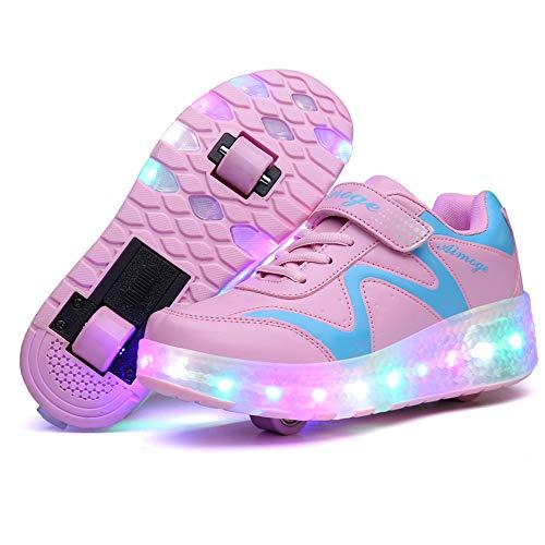 AIkuass Roller Shoes Boys Girls USB Charge LED Light Up Sneaker Kids Wheeled Skate Shoe