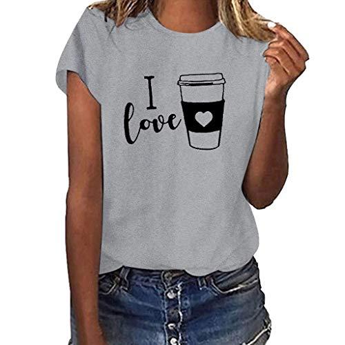 Hireat T-Shirt Women Girls Plus Size Sunshine Print Shirt Short Sleeve T Shirt Blouse Tops Sleeve Button Pocket Gray