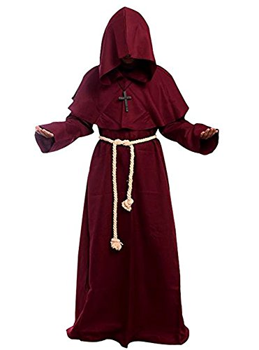 Probeauty Medieval Priest Monk Robe Halloween Cosplay Costume Hoodie Cloak for for Wizard Sorcerer (S-Small, -