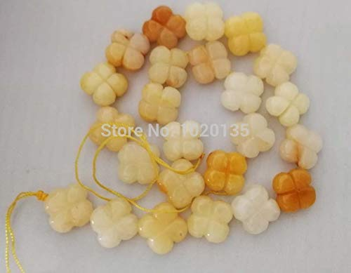 Calvas Loose Beads Yellow jades Carved Flower 166mm for Making Jewelry Necklace 14inch FPPJ Wholesale