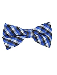 Boys Blue Pre-Tied Bowtie, Stripes, 1 to 10 years (Blue Grid)