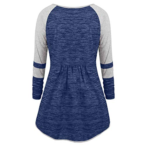 Nihewoo Women Fashion Plus Size V Neck Sweatshirt Coat Ruched Patchework Grommet Ribbons Color Block Top Pullover Tunic Blue