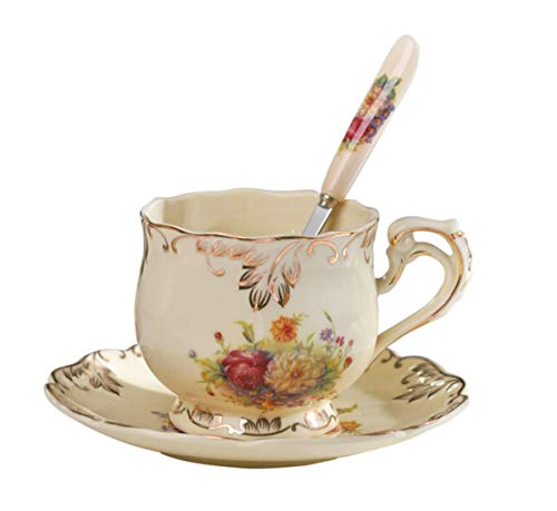 ry Ceramic Tea cup with Saucer Set,8oz Fancy Tea Cup Floral Tea Cup,The Best First Gift (1 cup flower) ()