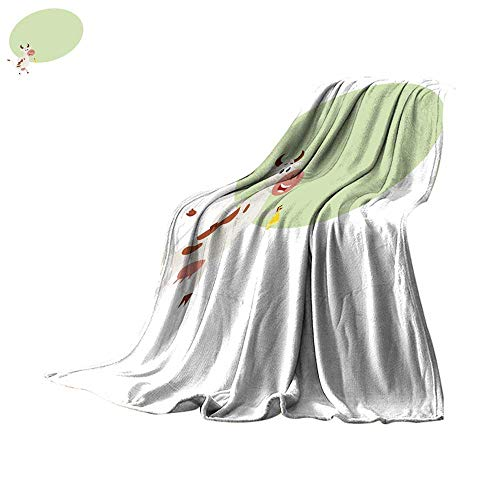 (Angoueleven Fleece Blanket Throw Spotted Cow Standing on hind Legs and Ringing a Bell Throw Blanket 70