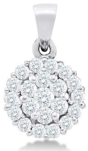 Diamond Flower Drop Necklace (14K White Gold Dangle Drop Flower Invisible Channel Set Round Diamond Pendant - (1/2 cttw))