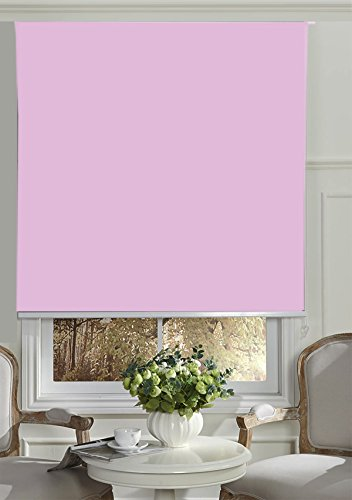 Soft Pink Shade - BERYHOME Cristal Blackout Room Darkening Roller Shades/Blinds with Chain Cord. 20 Beautiful Colors Available. (W37''xH68'', Soft Pink)