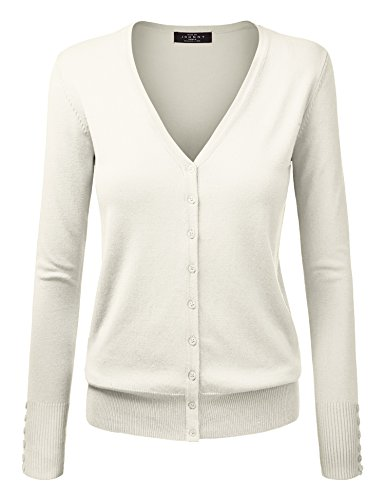 MBJ WSK780 Womens Keep It Classic V Neck Cardigan L Ivory ()