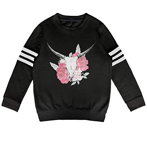 (Children red and White Roses Deer Head Sweatshirt Cute Long Sleeve Kids Clothes for Boys Or Girls)