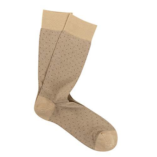 Calf Pima Cotton - Marcoliani Milano Mens Mid Calf Micro Slash Pima Cotton Socks, Beige, One Size Fits Most
