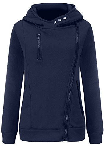 U-shot Ladies 'invierno manga larga sudadera con capucha sudadera con cremallera ropa azul marino