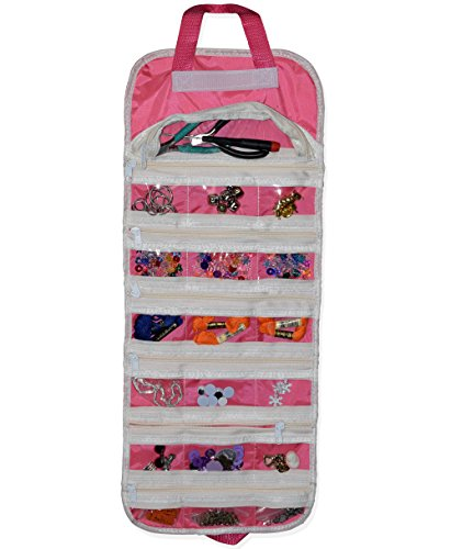 EASYVIEW Arts Crafts and Sewing Organizer - Portable Hanging Storage Case (Pink) (Michaels Halloween Craft Kits)