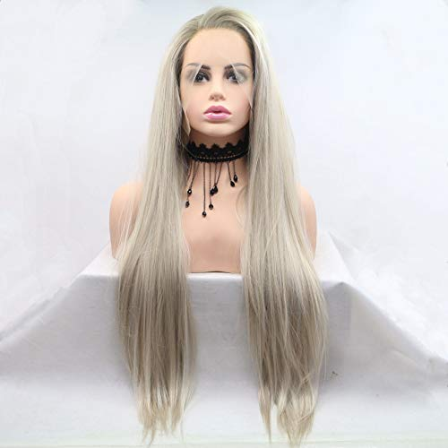Hairline Synthetic Hair Lace - Lucyhairwig High Temperature Natural Hairline Ombre Blonde Synthetic Lace Front Wigs Women Silky Straight Wig Dark Roots Long Handmade Synthetic Holiday Hair Replacement Drag Queen