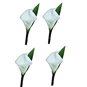 Set of 4-Real Touch Ivory (Off White) keepsake calla lily boutonniere 55