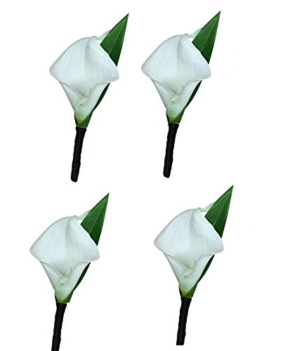 Set of 4-Real Touch Ivory (Off White) keepsake calla lily (Single Calla Lily)