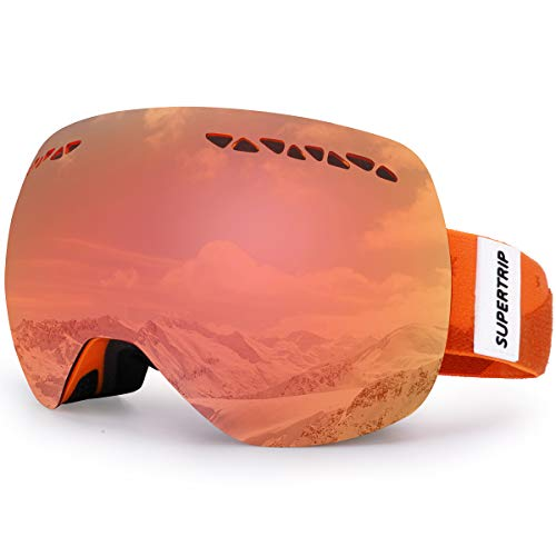 Supertrip Ski Snowboard Goggles for Men Women Over The Glasses Snow Goggles Anti Fog 100 UV Protection Double Lens Interchangeable Lens for Skiing