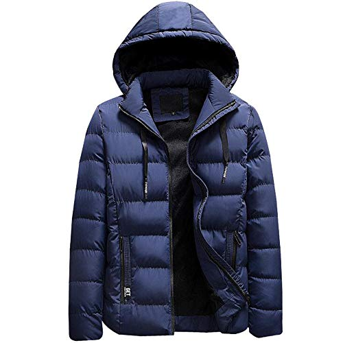 Men's Autumn Winter Casual Pocket Zipper Cotton Hoodie Thermal Top Coat Big and Tall by Allywit (Image #1)