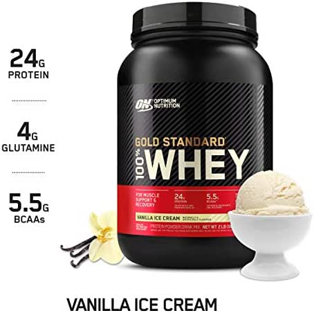 OPTIMUM NUTRITION GOLD STANDARD 100% Whey Protein Powder From Whey Isolates, Vanilla Ice Cream - 2 Pound (Packaging May Vary)