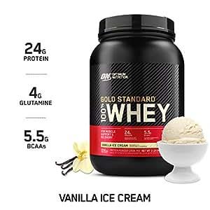Optimum Nutrition Gold Standard 100% Whey Protein Powder, Vanilla Ice Cream, 908 Grams