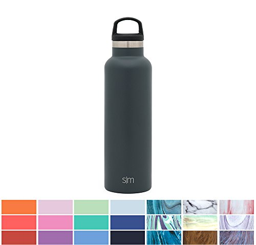 Simple Modern 20oz Ascent Water Bottle - Stainless Steel Hydro Swell Flask w/Handle Lid - Double Wall Vacuum Insulated Grey Reusable Tumbler Small Kids Coffee Leakproof Thermos - Graphite