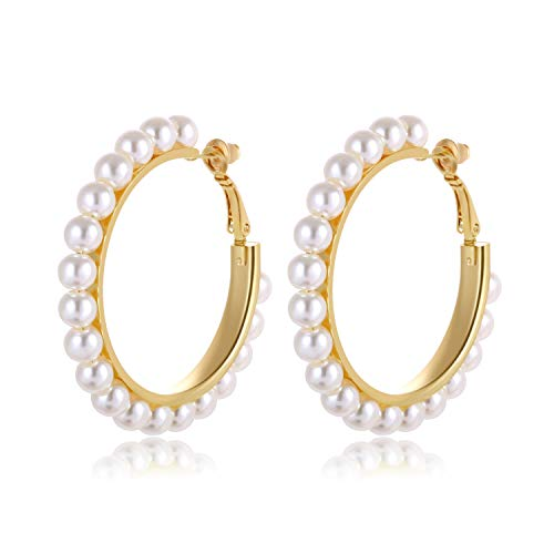 (Pearl Hoop Earrings)