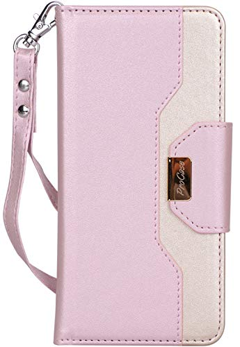 ProCase Galaxy S10 Plus Wallet Case, Flip Fold Kickstand Case with Card Holders Mirror, Folding Stand Protective Book Case Cover for 6.4 Inch Galaxy S10+ (2019 Release) - Pink