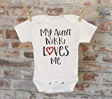 My Aunt Loves Me Personalized Onesie®, Auntie Gift, Gift for Niece Nephew, Custom Baby Onesie, Customized Onesie, Heart Onesie, Boho Baby Onesie, Funny Onesie