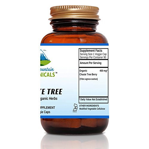 Chaste Tree Capsules - 90 Kosher Vegetarian Caps - Now with 400mg Organic Vitex Chaste Tree Berry Powder - Nature's Gold Standard for Normal Hormonal Support