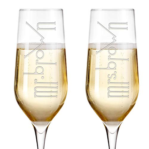 Engravable Wedding Favors - Set of 2 Personalized Wedding Champagne Flutes Engraved Glass Bride and Groom Gift Wedding Favors - Design 2