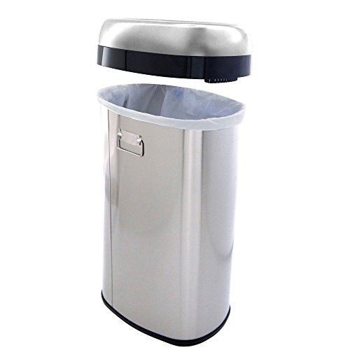 iTouchless 16 Gallon Dual-Deodorizer Oval Open Top Trash Can, Commercial Grade Stainless Steel, 60 Liter Open Garbage Can by iTouchless (Image #1)