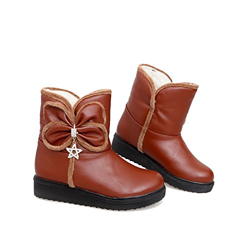 Allhqfashion Women's Soft Material Round Closed Toe Solid Low-Top Low-Heels Boots Brown X5FXep7y