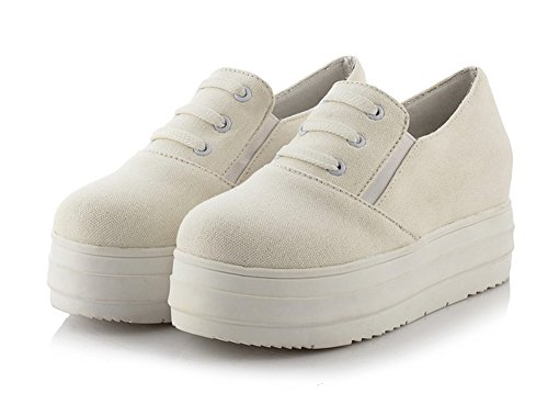Aisun Donna Casual Punta Tonda Elastico Spessa Suola Piatta Piattaforma Sneakers In Tela Slip On Mocassini Scarpe Da Skateboard Bianco