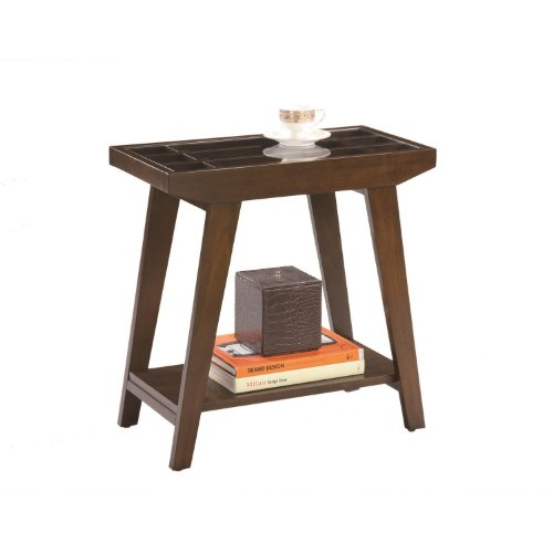 ORE International 7228 Traditional Glass Side/End Table, 24-Inch, Espresso - Table Ore Cherry International End