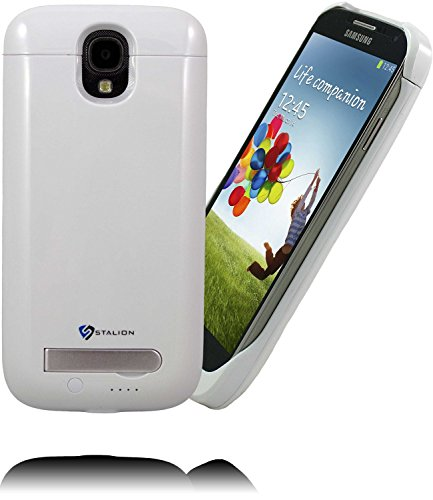 Galaxy S4 Battery Case: Stalion Stamina Rechargeable Extended Charging Case (Ceramic White) 3300mAh Protective Charger Cover with Kickstand + LED Charge Indicator Light