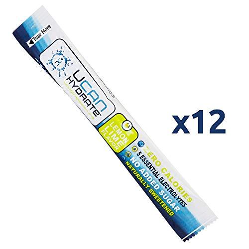 UCAN Hydrate Electrolyte Drink Mix Box, Lemon-Lime, No Sugar, Zero Calories, 0.1 Ounces, 12 Single Stick Packets (Lemon-Lime)