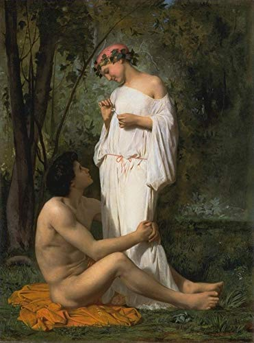 ($50-$2000 Handmade Oil Painting by College Teachers - Idylle 1851 William Adolphe Bouguereau Nude Classic NCC2 Canvas Art for Home Wall Decoration -Size 02)