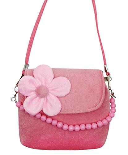 Bags us Little Girls Fashion Flower Crossbody Shoulder Bag Plush Handbag Mini Purse with Handle