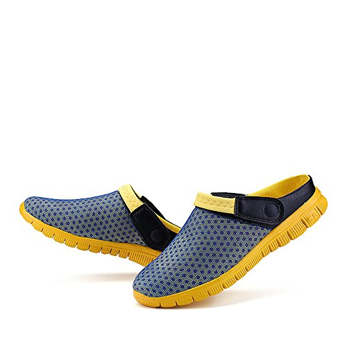 Bwiv Beach Slippers for Men and Women Mesh Water Clogs with Strap Casual Beach Shoes in UK Sizes 4-10 Light Blue with Yellow Strap xuqCUlbQp