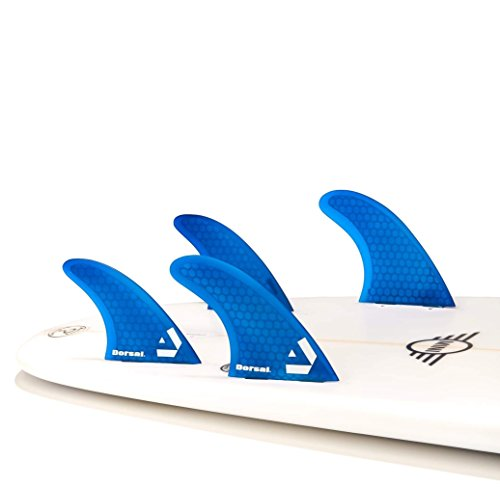 Dorsal Surfboard Fins Hexcore Quad Set (4) Honeycomb FCS Base Blue by Dorsal