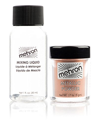 Mehron Makeup Metallic Powder .17 oz with Mixing Liquid 1fl oz - Copper (Aphrodite Costume Child)