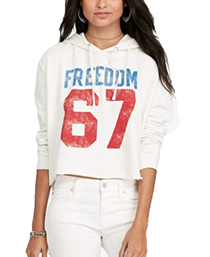Denim & Supply Ralph Lauren Cotton Graphic Hoodie (Antique Cream Freedom, M)