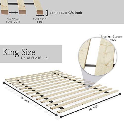 Mattress Solution 0.75 1.5-Inch Heavy Duty Mattress Support Wooden Bunkie Board/Slats, King, Beige
