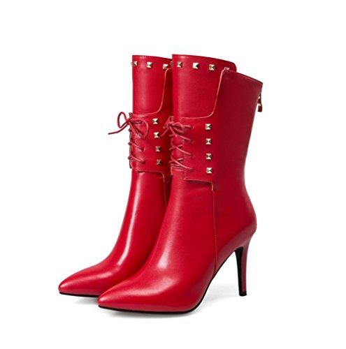 Remache genuino de Casual estrecha Best de Boots 4U® Estilo Negro Zapatos cuero punta Rojo red de Martin Blanco mujer Stiletto 7YYAzwBq