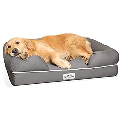 """PetFusion Large Dog Bed w/ Solid 4"""" Memory Foam, Waterproof liner, YKK premium zippers. [Ultimate Lounge 36x28x9 - sized for Medium & Large Dogs]. Breathable cotton blend cover that is removable and easy to clean"""
