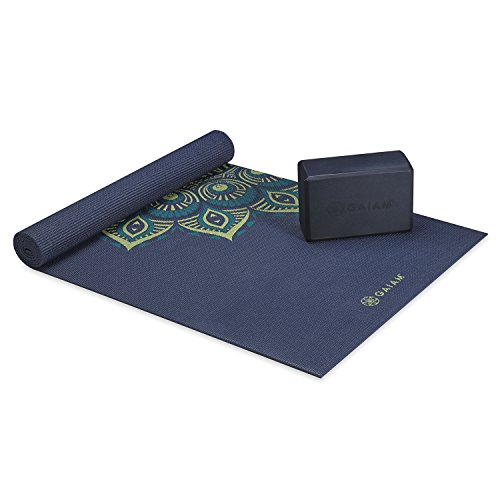 Gaiam Classic Cushion & Support Yoga Kit (Yoga Mat + Yoga Block), Midnight Capri, 4mm
