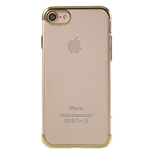 FSHANG Electroplated Clear Plastic Mobile Phone Tasche Hüllen Schutzhülle Case für iPhone 7 4.7 inch - Gold