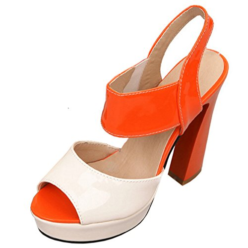 Slingback Talons Chaussures Multicolore Toe Hauts Bloc Peep Femmes TAOFFEN Sandales Plateforme Soiree Mode Orange gPZa4qw